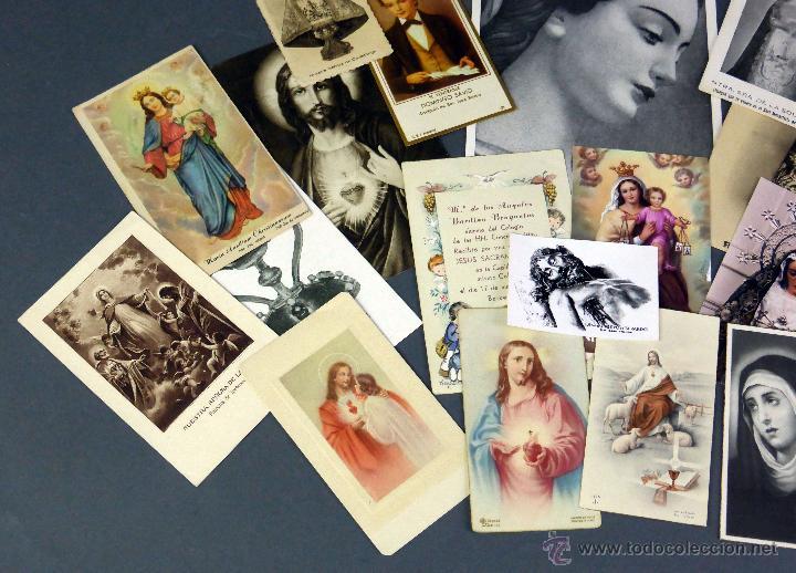 Postales: 23 estampas religiosas Virgen María Cristo Sagrado Corazón Jesús decesos recordatorio años 30 - 60 - Foto 2 - 53334262