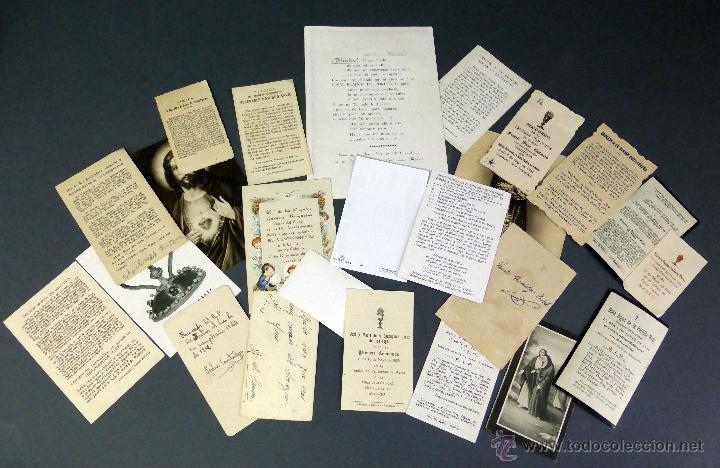 Postales: 23 estampas religiosas Virgen María Cristo Sagrado Corazón Jesús decesos recordatorio años 30 - 60 - Foto 4 - 53334262