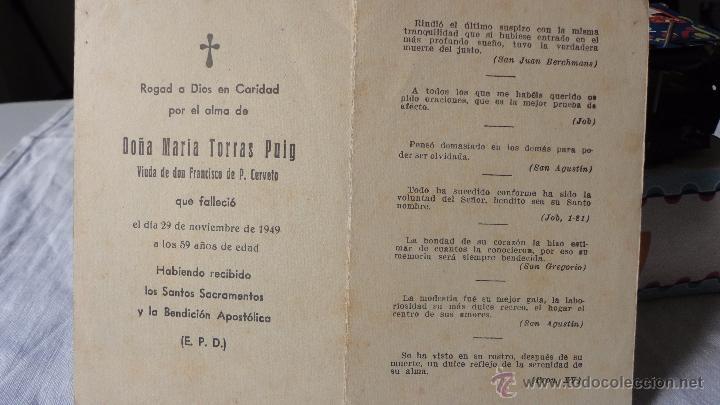 RECUERDO FUNERAL MARIA TORRAS PUIG.CATALUÑA.1949. (Postales - Postales Temáticas - Religiosas y Recordatorios)