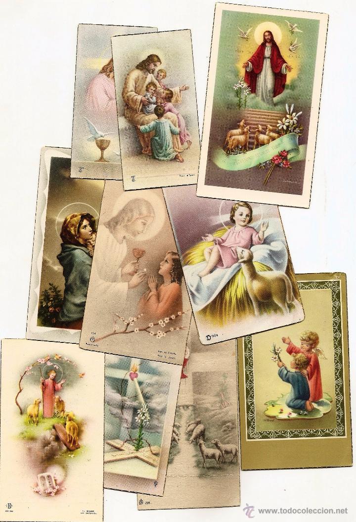 CASTALLA (ALICANTE) - LOTE DE 10 RECORDATORIOS DE COMUNIÓN DE LA LOCALIDAD DIFERENTES AÑOS 50 (Postales - Postales Temáticas - Religiosas y Recordatorios)