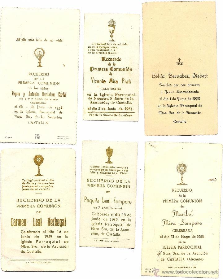 Postales: CASTALLA (ALICANTE) - LOTE DE 10 RECORDATORIOS DE COMUNIÓN DE LA LOCALIDAD DIFERENTES AÑOS 50 - Foto 3 - 53569718