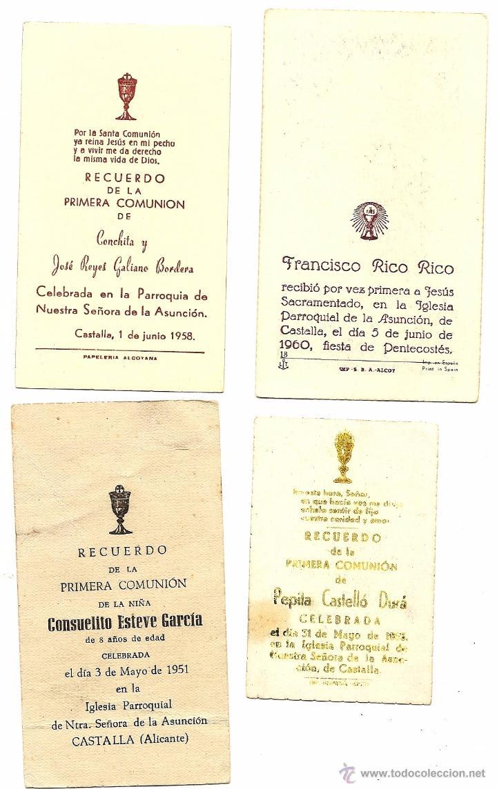 Postales: CASTALLA (ALICANTE) - LOTE DE 10 RECORDATORIOS DE COMUNIÓN DE LA LOCALIDAD DIFERENTES AÑOS 50 - Foto 5 - 53569718