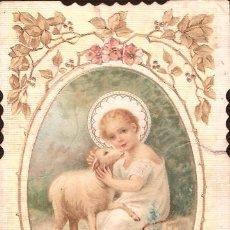 Postales: POSTAL ESTAMPA RELIGIOSA: NÑO PASTOR CON OVEJA: 11X6 CM. Lote 53834185