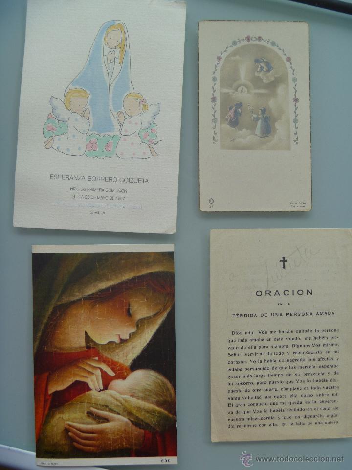 LOTE DE 4 ESTAMPAS Y RECORDATORIOS , EL MAS ANTIGUO DE 1951 (Postales - Postales Temáticas - Religiosas y Recordatorios)