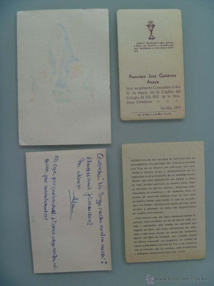 Postales: LOTE DE 4 ESTAMPAS Y RECORDATORIOS , EL MAS ANTIGUO DE 1951 - Foto 2 - 53895798