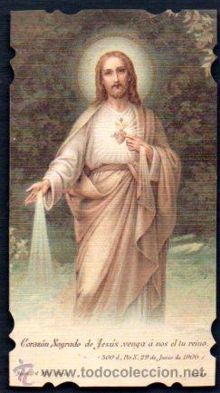 ESTAMPA TROQUELADA SAGRADO CORAZÓN 1906 (Postales - Postales Temáticas - Religiosas y Recordatorios)