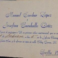 Postales: BODA ANTIGUA, TARJETA DE INVITACIÓN. SEVILLA, AÑO 1950.. Lote 54437335