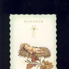 Postales: ESTAMPA RELIGIOSA CON RELIQUIA: BELEN: FLORES DE TIERRA SANTA. Lote 54514537