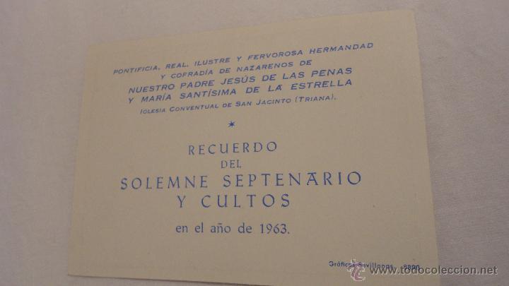 RECUERDO SOLEMNE SEPTENARIO Y CULTOS.IGLESIA SAN JACINTO.SEVILLA.1963 (Postales - Postales Temáticas - Religiosas y Recordatorios)