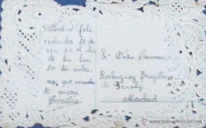 Postales: Estampa religiosa. Antigua. Con puntilla. Troquelada. Años 20 - Foto 2 - 54944633