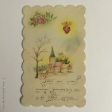 Postales: ESTAMPA RELIGIOSA TROQUELADA PINTADA Y ESCRITA A MANO.. Lote 54956477