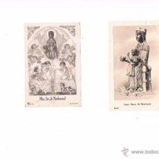 Postales: LOTE 2 ESTAMPAS RELIGIOSAS ANTIGUAS SANTA MARÍA DE MONTSERRAT VIRGEN RELIGIÓN. Lote 54993899