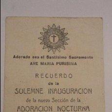 Postales: RECUERDO SOLEMNE INAUGURACION.ADORACION NOCTURNA.JURA BANDERA.HORNACHOS.BADAJOZ.1960. Lote 55277117