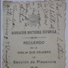 Postales: RECUERDO VIGILIA.ADORACION NOCTURNA.VILLAR DE PLASENCIA.CACERES.1916. Lote 55572097