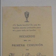 Postales: RECUERDO PRIMERA COMUNION.MANUEL PEREZ PEREZ.SAN JUAN AZNALFARACHE.SEVILLA.1955.. Lote 56130067
