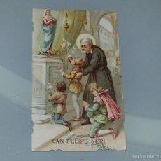 Postales: ANTIGUA ESTAMPA RELIGIOSA CROMOLITOGRAFICA TROQUELADA DE SAN FELIPE NERI AÑOS 20. Lote 56207859