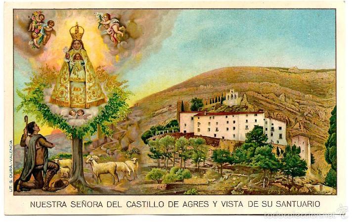 POSTAL NUESTRA SEÑORA DEL CASTILLO DE AGRES Y VISTA DE SU SANTUARIO - SIN CIRCULAR (Postales - Postales Temáticas - Religiosas y Recordatorios)