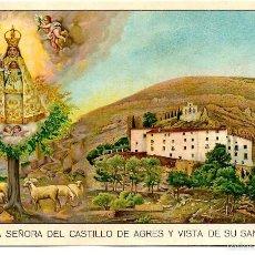 Postales: POSTAL NUESTRA SEÑORA DEL CASTILLO DE AGRES Y VISTA DE SU SANTUARIO - SIN CIRCULAR. Lote 56705918