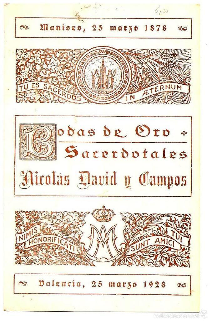 Postales: RECORDATORIO BODAS DE ORO DE UN CURA DE MANISES (VALENCIA) AÑO 1928 - I IMAGEN NMACULADA CONCEPCIÓN - Foto 2 - 56705928