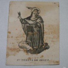 Postales: ESTAMPA MUY ANTIGUA DE SANTA TERESA DE JESUS, SIGLO XVII XVIII, VER FIRMA DEL AUTOR DEL GRABADO. Lote 56727356