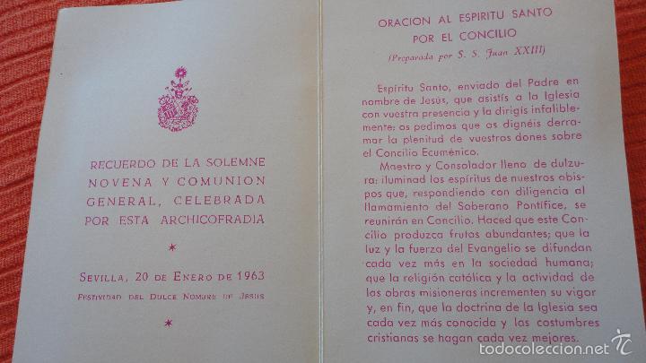RECUERDO SOLEMNE NOVENA.COMUNION.FESTIVIDAD DULCE NOMBRE.SEVILLA,1963 (Postales - Postales Temáticas - Religiosas y Recordatorios)