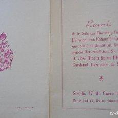 Postales: RECUERDO SOLEMNE NOVENA.COMUNION.FESTIVIDAD DULCE NOMBRE.SEVILLA,1965. Lote 57074325