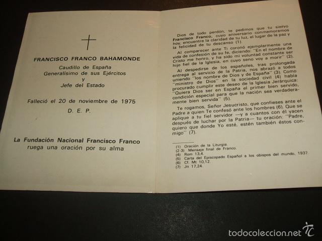 Postales: FRANCISCO FRANCO RECORDATORIO TERCER ANIVERSARIO FALLECIMIENTO - Foto 2 - 57181011