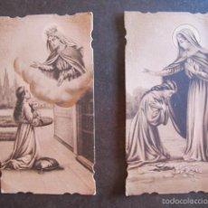 Postales: LOTE 2 ESTAMPAS RELIGIOSAS ANTIGUAS MISMA SERIE. Lote 58087049