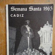 Postales: ITINERARIOS - ANTIGUO ITINERARIO DE SEMANA SANTA CADIZ 1963. Lote 58422687