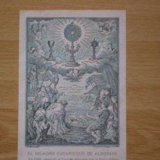 Postales: TARJETA RECORDATORIO DE LAS BODAS DE ORO DE LA ADORACION NOCTURNA DE ALBORAYA, VALENCIA, 1944. Lote 59087920