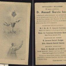 Cartes Postales: ANTIGUA ESTAMPA RELIGIOSA PRIMERA MISA GUARDAMAR ALICANTE 1942 INVITACIÓN DEL NUEVO PRESBITERO MANUE. Lote 60162379