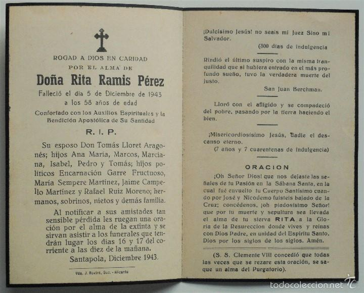 Postales: SANTA POLA, ELCHE (ALICANTE) - LOTE 50 RECORDATORIOS FALLECIMIENTOS - Foto 8 - 60870435