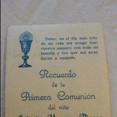 Postales: RECORDATORIO PRIMERA COMUNION.ANTONIO USAGRE RIVERA.SAN JUAN AZNALFARACHE.SEVILLA.1952. Lote 61359680