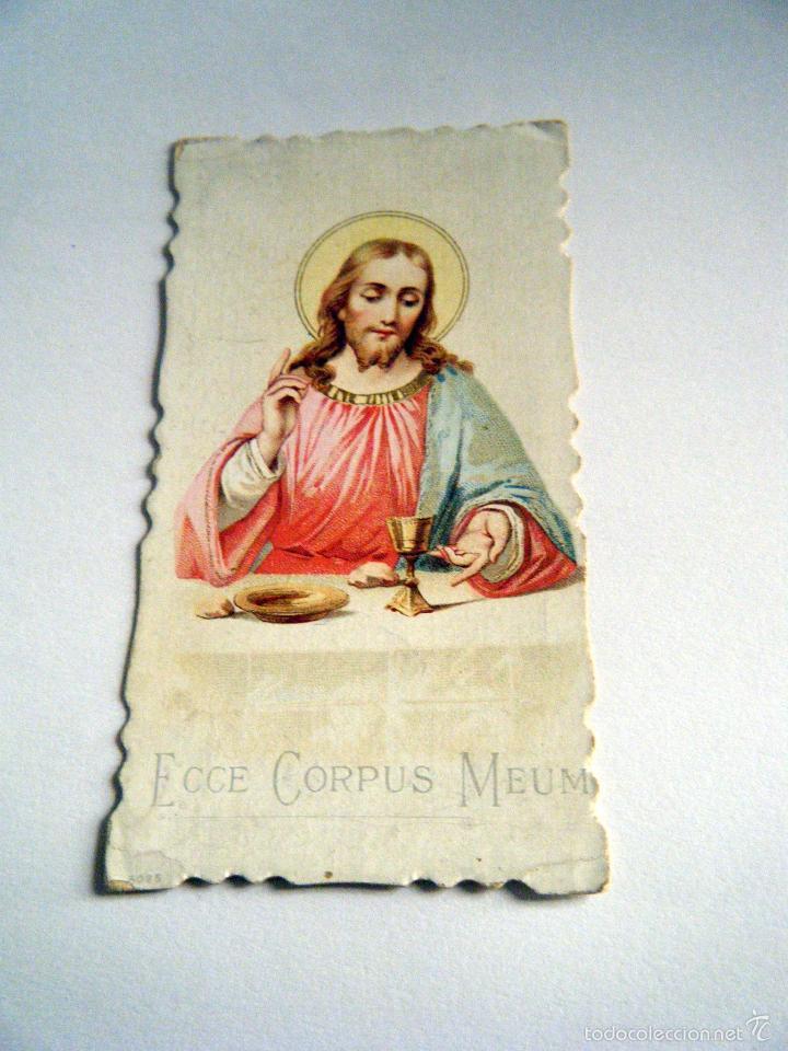 ESTAMPA RELIGIOSA ECCE CORPUS MEUM. PRINCIPIOS S. XX (Postales - Postales Temáticas - Religiosas y Recordatorios)