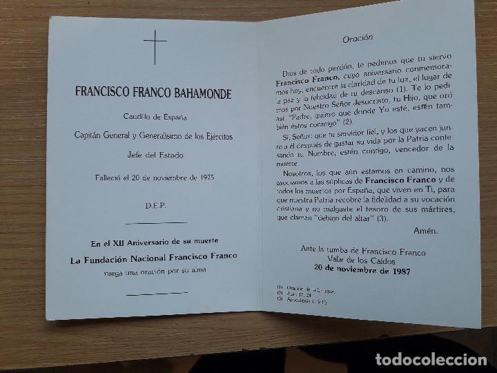 Postales: ANTIGUO RECORDATORIO FRANCISCO FRANCO, ESQUELA, VALLE DE LOS CAIDOS, MENSAJE DEL CAUDILLO. - Foto 3 - 62195844