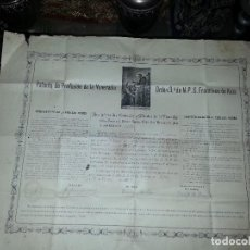 Postales: GRAN PATENTE DE PROFESION VENERABLE ORDEN 3ª SAN FRANCISCO DE ASIS CADIZ IMPRESA 1894 FIRMADA 1919. Lote 62247776