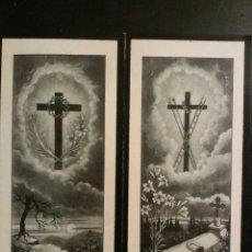 Postales: LOTE DE 5 OBITUARIOS RELIGIOSOS DOBLES ENTRE LOS ANOS 1900 AL 1920. Lote 63357934