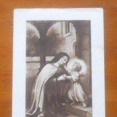 Postales: ESTAMPA SANTA TERESA, MANUSCRITO PRIORA CARMELITA ALBA TORMES 1938. Lote 63395028