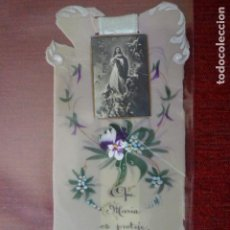 Postales: ESTAMPA RELIGIOSA DE LA VIRGEN. PINTADA Y ESCRITA A MANO. . Lote 64090891