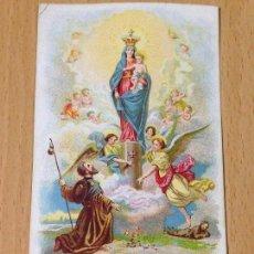 Postales: ANTIGUA ESTAMPA RELIGIOSA VIRGEN DEL PILAR ZARAGOZA PUBLICIDAD CHOCOLATES ORUS. Lote 67324557
