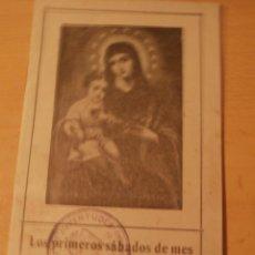 Postales: RECORDATORIO RELIGIOSO CORAZON DE MARIA.JUVENTUDES DE FALANGE. Lote 67748573