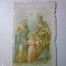 Postales: ESTAMPA RELIGIOSA TROQUELADA LA SAGRADA FAMILIA. AÑO 1898.. Lote 68280217