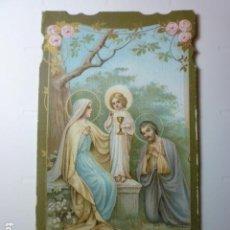 Postales: ESTAMPA RELIGIOSA TROQUELADA SAGRADA FAMILIA CON ORACION 1899.. Lote 70036025