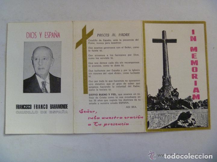 RECORDATORIO MUERTE DE FRANCO CON TESTAMENTO DEL CAUDILLO (Postales - Postales Temáticas - Religiosas y Recordatorios)