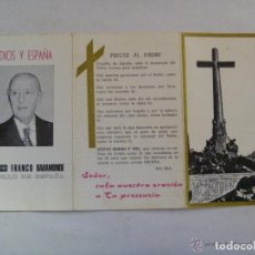Postales: RECORDATORIO MUERTE DE FRANCO CON TESTAMENTO DEL CAUDILLO. Lote 70173457