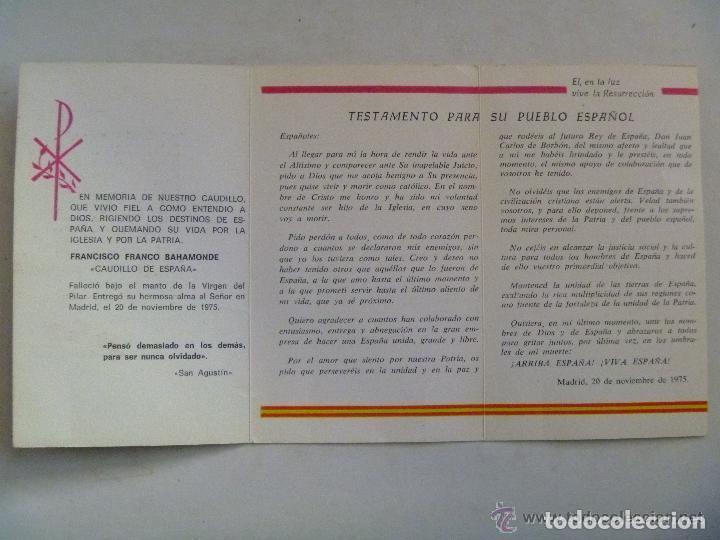 Postales: RECORDATORIO MUERTE DE FRANCO CON TESTAMENTO DEL CAUDILLO - Foto 2 - 70173457