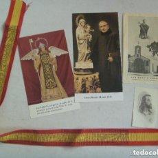 Postales: LOTE RELIGIOSO: CINTA BANDERA ESPAÑA VIRGEN DEL PILAR Y 4 ESTAMPAS.. Lote 71405923