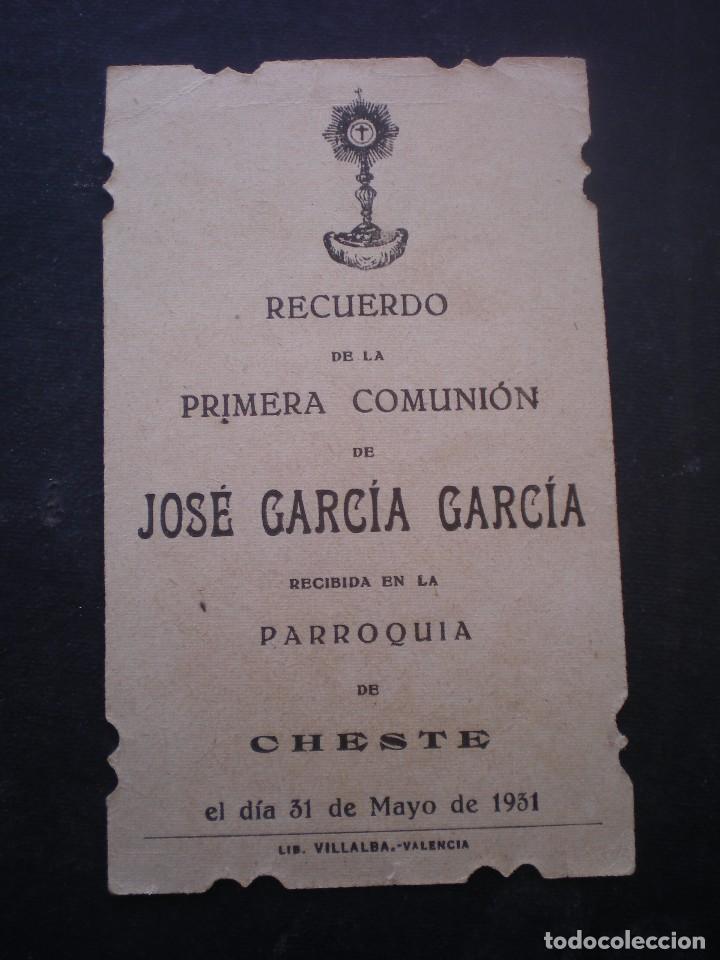 Postales: ESTAMPA RELIGIOSA, RECORDATORIO PRIMERA COMUNION, CHESTE VALENCIA 1931 - Foto 2 - 71862895