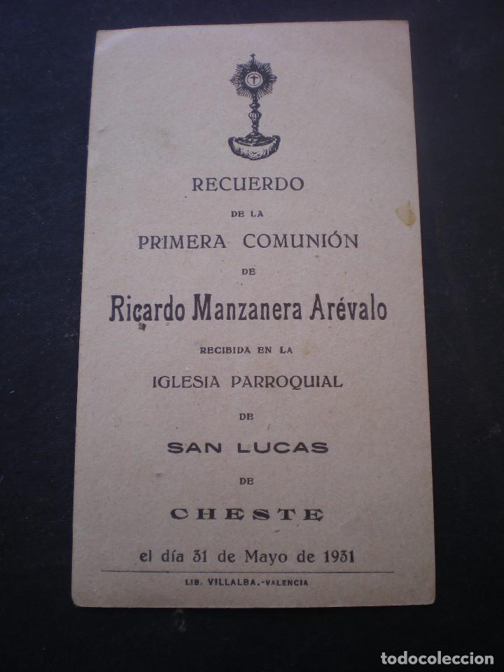 Postales: ESTAMPA RELIGIOSA, RECORDATORIO PRIMERA COMUNION, CHESTE, 1931 VALENCIA - Foto 2 - 71862919