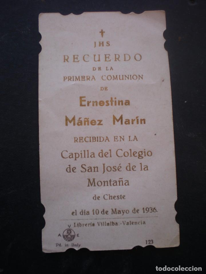 Postales: ESTAMPA RELIGIOSA, RECORDATORIO PRIMERA COMUNION, CHESTE, 1936, VALENCIA - Foto 2 - 71863155